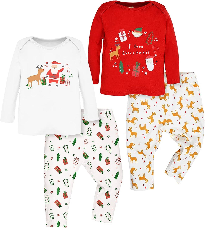 WINK & BLINK Christmas Organic Baby Pajamas, 2-Pack Top & Bottom Set, 100% Organic Cotton Baby Clothes