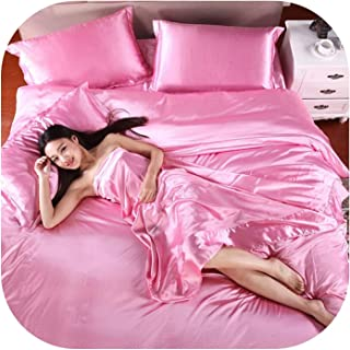 QianQianStore 100% Pure Satin Silk Bedding Set,Home Textile King Size Bed Set,Bedclothes,Duvet Cover Flat Sheet Pillowcases,Pink,Twin 4pcs