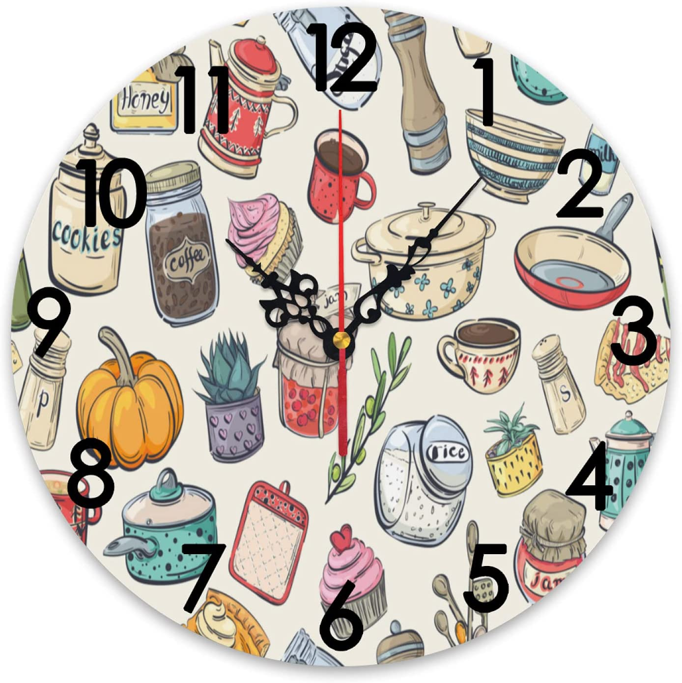 ZXZNC Wall Clock Large Max 79% OFF Cartoon Cooking Utensils Dishes Foo Cute Now on sale