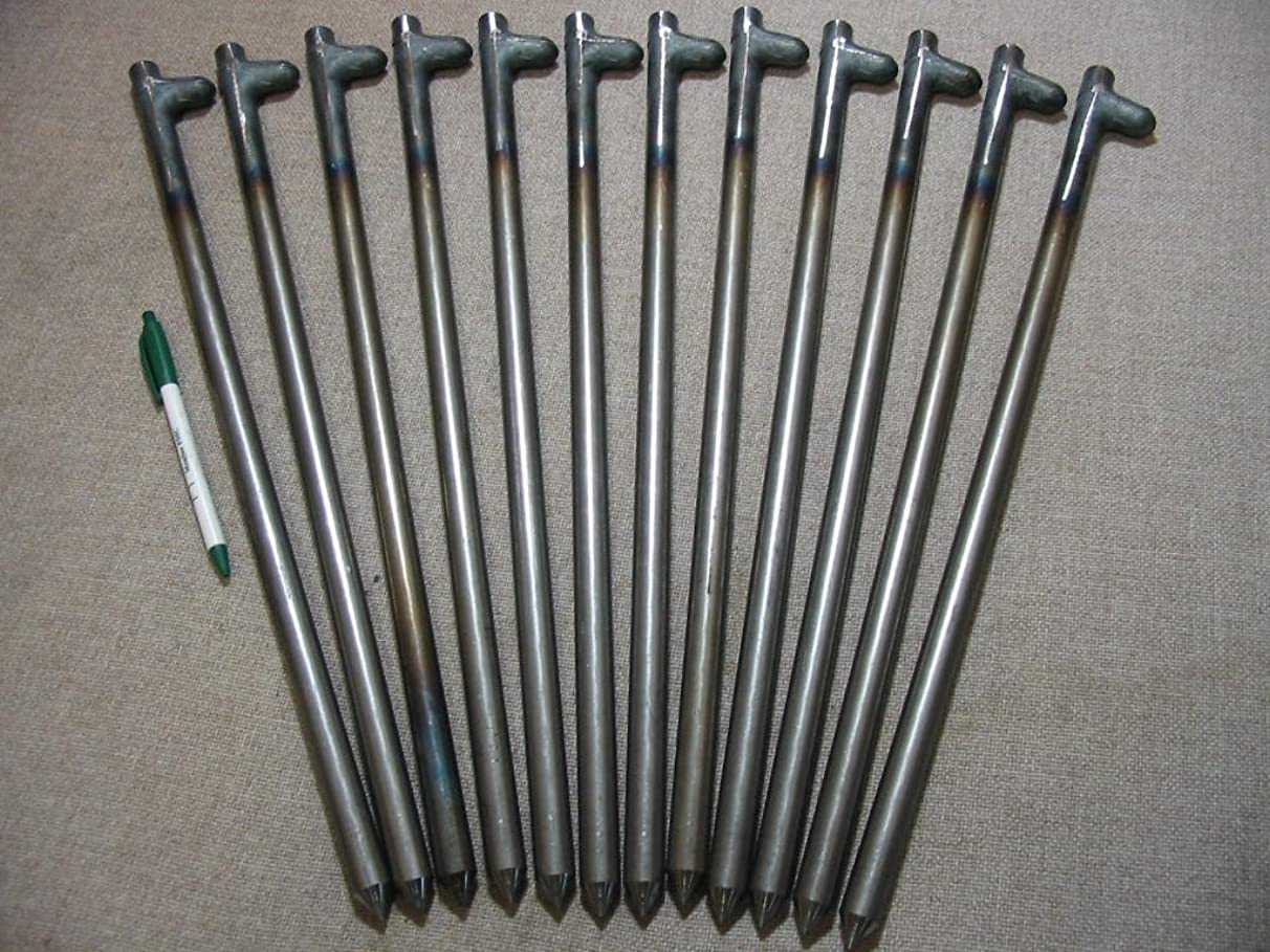 12 Pack of Heavy Duty Steel Tent Stakes, Anchors, Spikes or Pegs