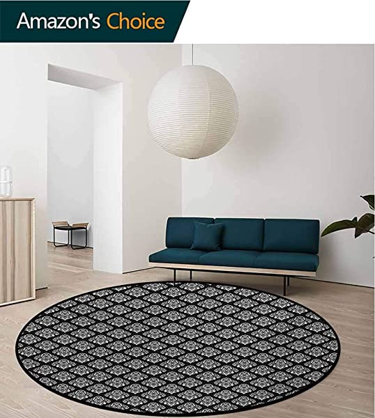 RUGSMAT Damask Modern Washable Round Bath Mat Classic Timeless Foliage Leaves With Victorian Inspired Swirls And Curls Non Slip Bathroom Soft Floor Mat Home Decor Diameter 71 Inch