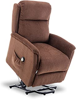 BONZY Power Lift Recliner Chair Soft and Warm Fabric with Remote Control for Gentle Motor, Chocolate