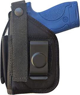 Belt Clip-on Holster for S&W M&P Shield EZ 380 Pistol with Underbarrel Laser Mounted on Gun