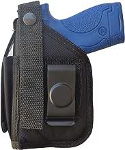 Belt Clip-on Holster for S&W M&P Shield EZ 380 Pistol with Underbarrel Laser Mounted on Gun