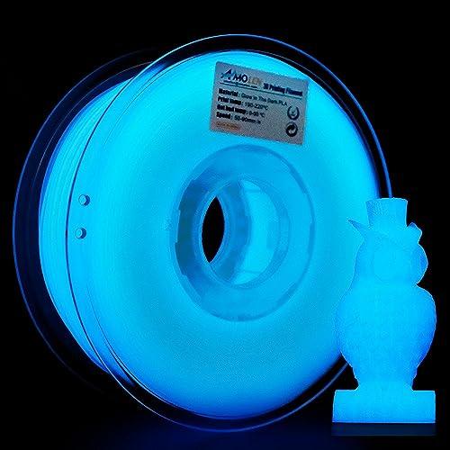 AMOLEN Imprimante 3D Filament PLA 1.75mm, Glow in the Dark Bleu 1KG,+/- 0.03 mm Matériaux d'impression 3D en filament, comprend des échantillons de Filaments Marbre.