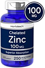 Chelated Zinc Supplement 100mg | 250 Tablets | High Potency & Superior Absorbtion | Vegetarian, Non-GMO, Gluten Free | by Horbaach
