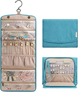 BAGSMART Travel Hanging Jewelry Organizer Case Foldable Jewelry Roll with Hanger for Journey-Rings, Necklaces, Bracelets, ...