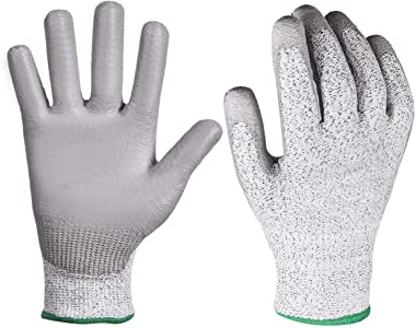 YSBER 3 Pairs Gardening Gloves for Women and Men Wear-resistant PU Coated Anti-cut Gloves with Garden Planting, Fishing (Small, Grey)