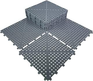 HYSA MAT Interlocking Non-Slip Tiles,12.5 x 12.5 inch PVC Flooring Deck Drainage Mats for Basement Swimming Pool Bathroom Boat Wet-Area,Grey,12-Pack