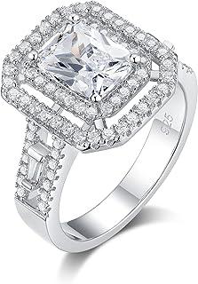 Newshe 3Ct زفاف خواتم خطوبة للنساء الفضة الاسترليني الذكرى السنوية الأحجار الكريمة الياقوت الأبيض تشيكوسلوفاكيا حجم 5-10