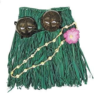 Hawaiian Hula Grass Skirt Set Coconut Bikini Top Green