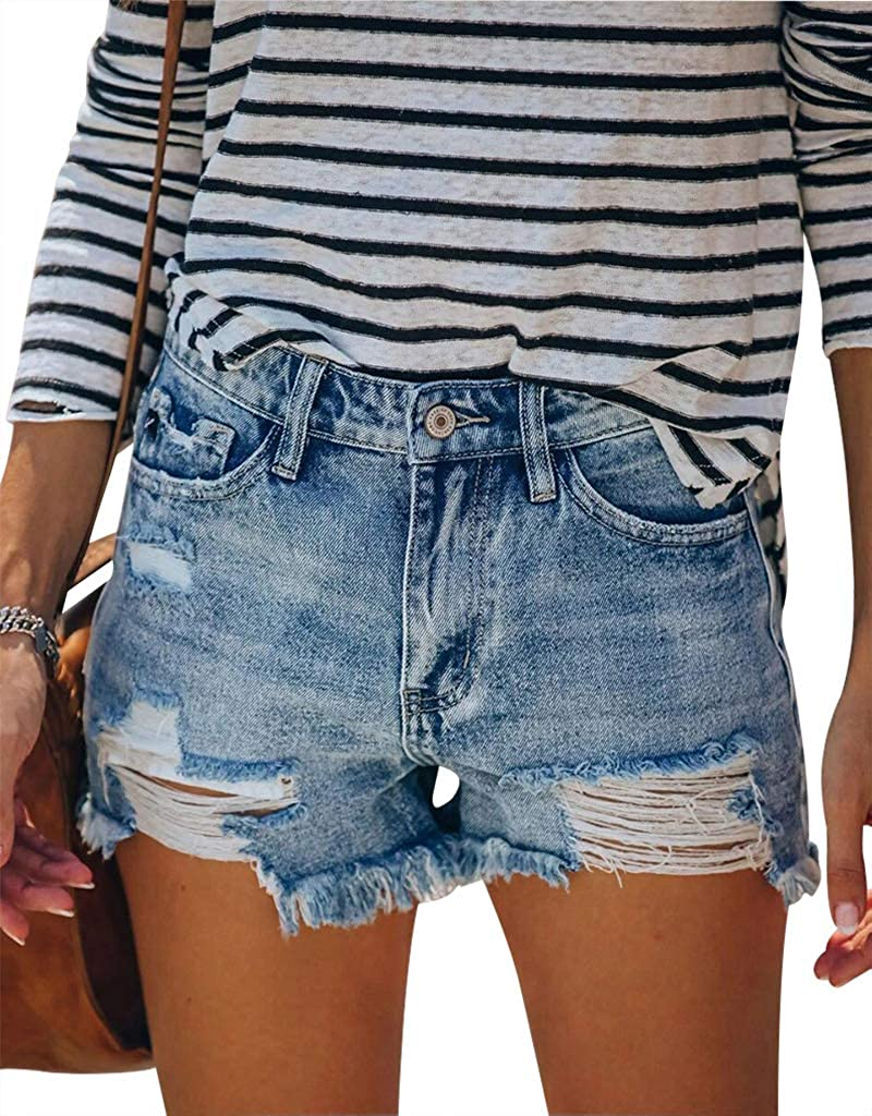 Women High Waisted Casual Denim Shorts Rolled Hem Distressed Ripped Stretchy Hot Jeans Shorts