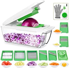CHUGOD Vegetable Chopper Mandoline Slicer Dicer, Newly Improved Onion Cutter Heavy Duty All in One Fruit Cuber Multi Blades Kitchen Food Cheese Grater Egg Separater (Dark Green),