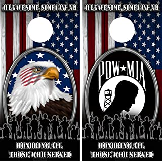 Speed Demon Hot Rod Shop Cornhole Wraps ~ American Eagle American Flag Colors with Veterans POW Corn Hole Board Laminated Decal Wraps (Set of 2)