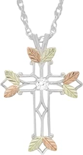 product image for 2.5 MM Round White CZ Black Hills Silver Cross