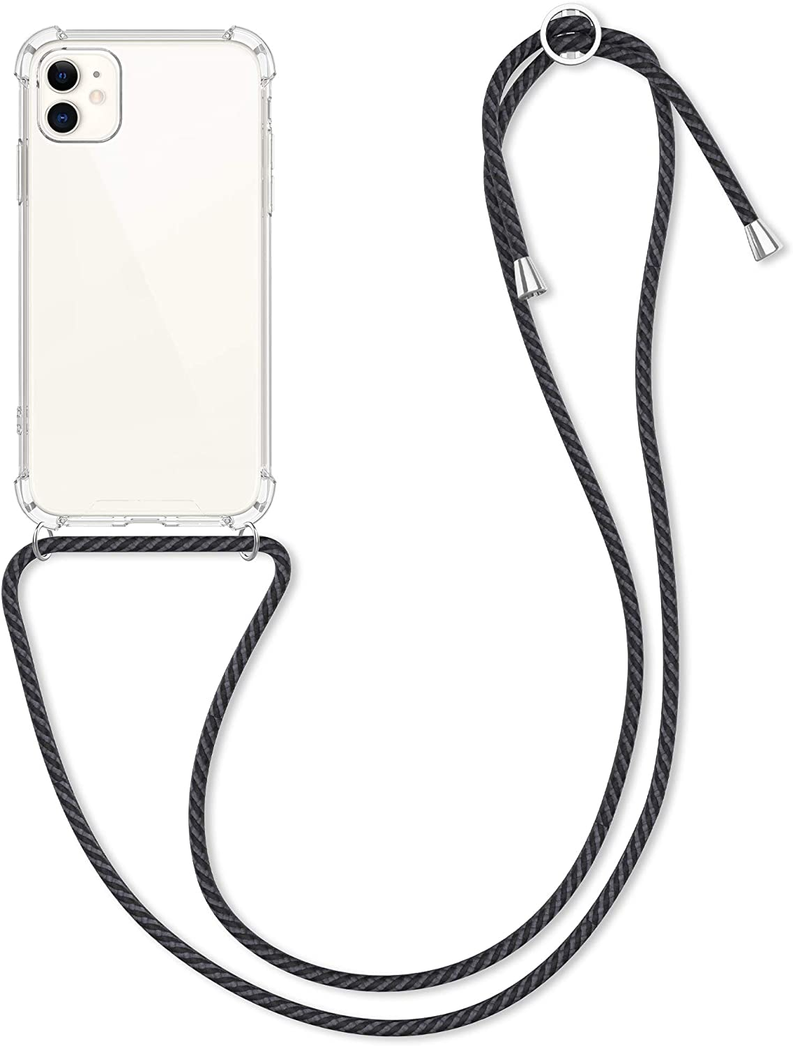 kwmobile Crossbody Case Compatible with Apple iPhone 11 - Case Clear TPU Phone Cover w/Lanyard Cord Strap - Transparent/Anthracite/Black