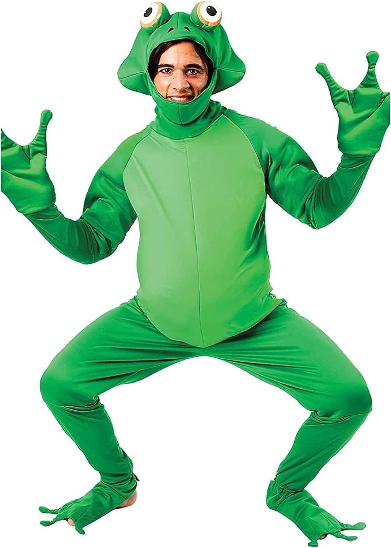 Spring hue Latest item Unisex Adult Halloween Open Jumpsui trust Costume Face Frog