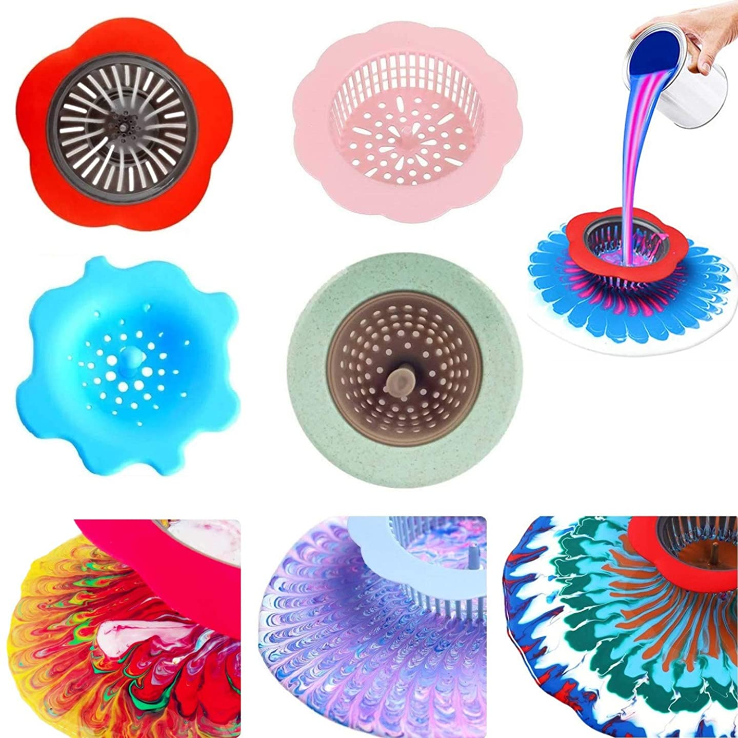 ONEST 4 PCS Acrylic Pouring Strainers, Plastic Flower Strainers, Silicone Pouring Drain, for Pouring Acrylic Paint and Creating Unique Patterns and Designs