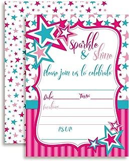 Sparkle & Shine Stars Birthday Party Invitations for Girls, 20 5