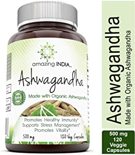 Amazing India Ashwagandha (Made with Organic Ashwagandha) 500 Mg 120 Veggie Capsules (Non-GMO) * Promotes Healthy Immunity Supports Stress Management and Promotes Vitality *