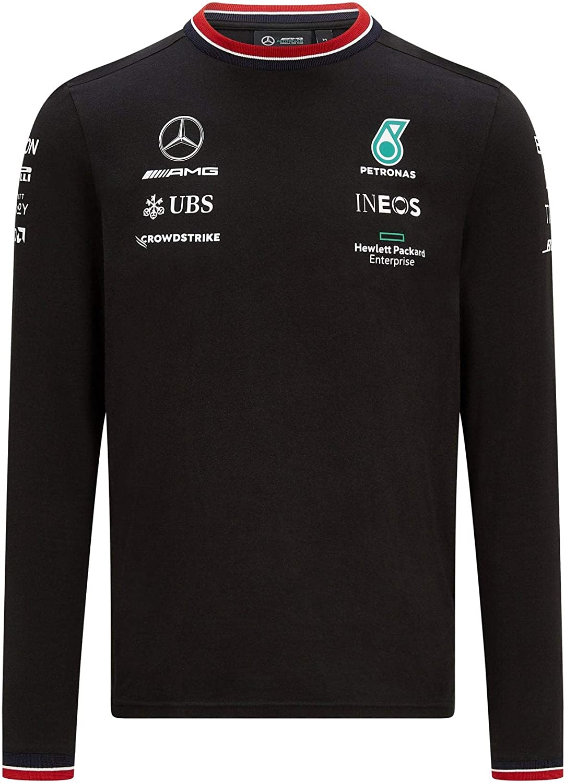 L Hombre Mercanc/ía Oficial de F/órmula 1 2021 Colecci/ón Mercedes-AMG Petronas Crew Neck Longsleeve LS Driver tee Negro