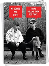Men Stiff Joints - Hilarious Happy Birthday Card with Envelope (4.63 x 6.75 Inch) - Old Man Birthdays, Smoking Stoned Grandpas - Funny Bday Note Card for Dad, Fathers, Brothers C7038BDG