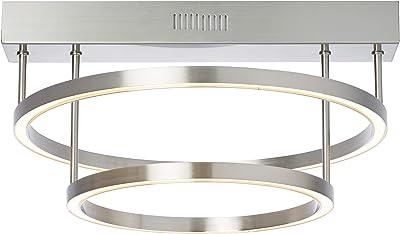 Brilliant Tunar Plafonnier LED rond avec variateur d'intensité intégré Nickel 2100 lm