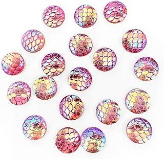 Clown Antics Face Paint Gems - Fishscale Shine in Pink, 12 mm, Flat Back, Resin Rhinestone Blings, 20 / pack