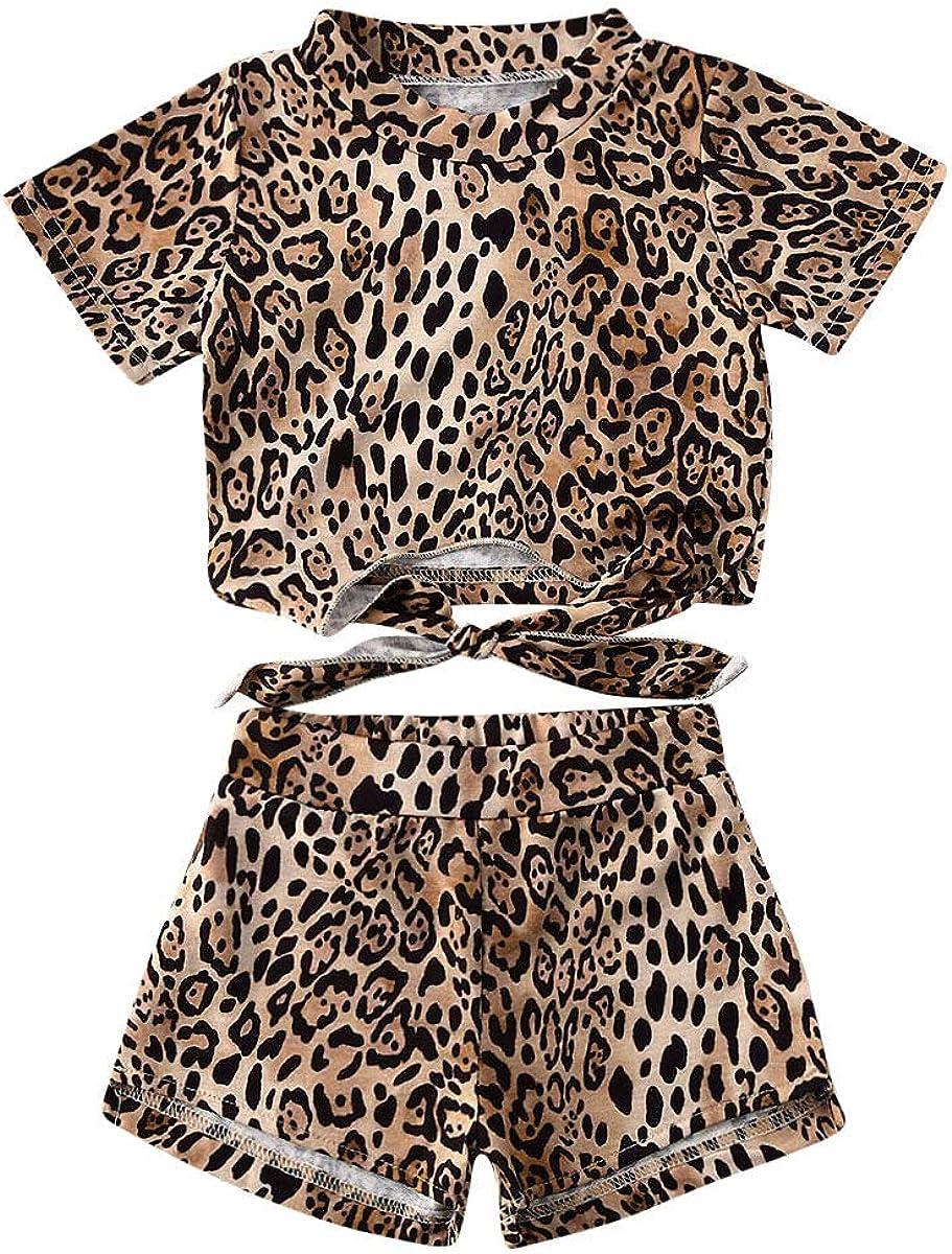 Shorts Clothes Cute Girls 2Pcs Leopard Outfits Set Summer Short Sleeve T-Shirt