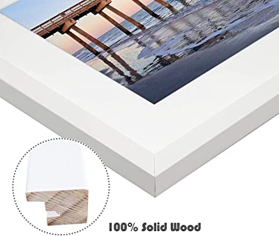Golden State Art, Wall Photo Frame Collection, 12x16 Photo Wood Frame with White Mat & Real Glass for 8x12 Picture, White