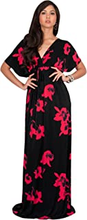 Womens Long Kimono Short Sleeve Floral Summer V-Neck Flowy Maxi Dress