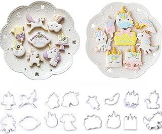 16 Pack Mini Fantasy Unicorn Cookie Biscuit Fondant Cake Mold,Unicorn Cookie Cutter Fondant Mold Set - Fondant Cupcake, cake decorating in magic unicorn or fantastic unicorn theme parties
