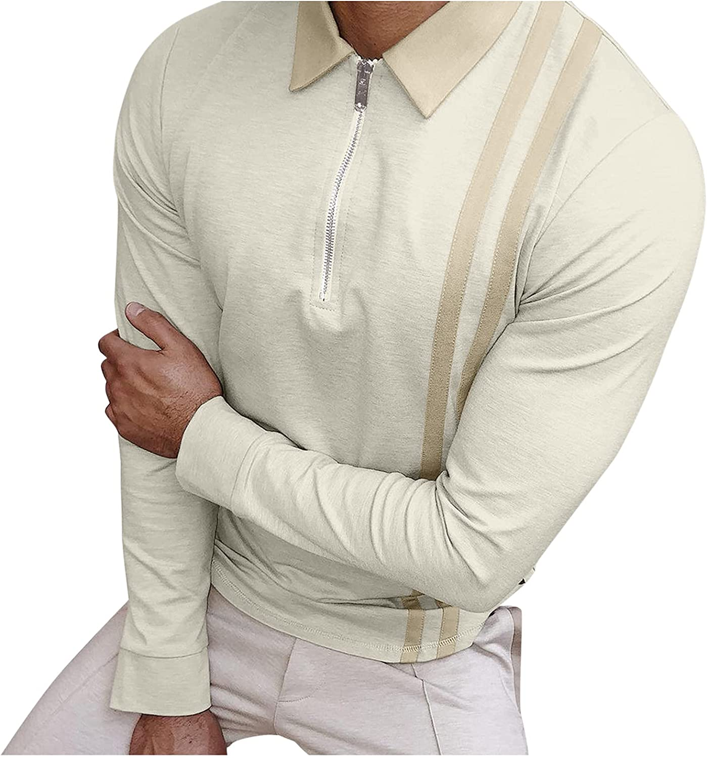 PAOGE Men's Autumn Striped Long Sleeve Turtleneck Fashion Casual Bottoming Top Blouse 2021