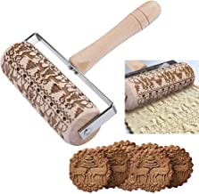 Rolling Pins Embossed Christmas Wooden 3D Baking Cookies Biscuit Tools Reindeer Xmas Tree Pattern Cake Mold Kids Favor Textured Non-Stick for Fondant Pastry Icing Clay Dough Tool Plunger