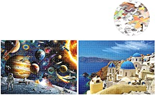 Sangmei 1000 Piece Puzzles Space Tourist + 1000 Piece Puzzles Aegean Sea Drawing for Adults Kids Educational Jigsaw Puzzle...