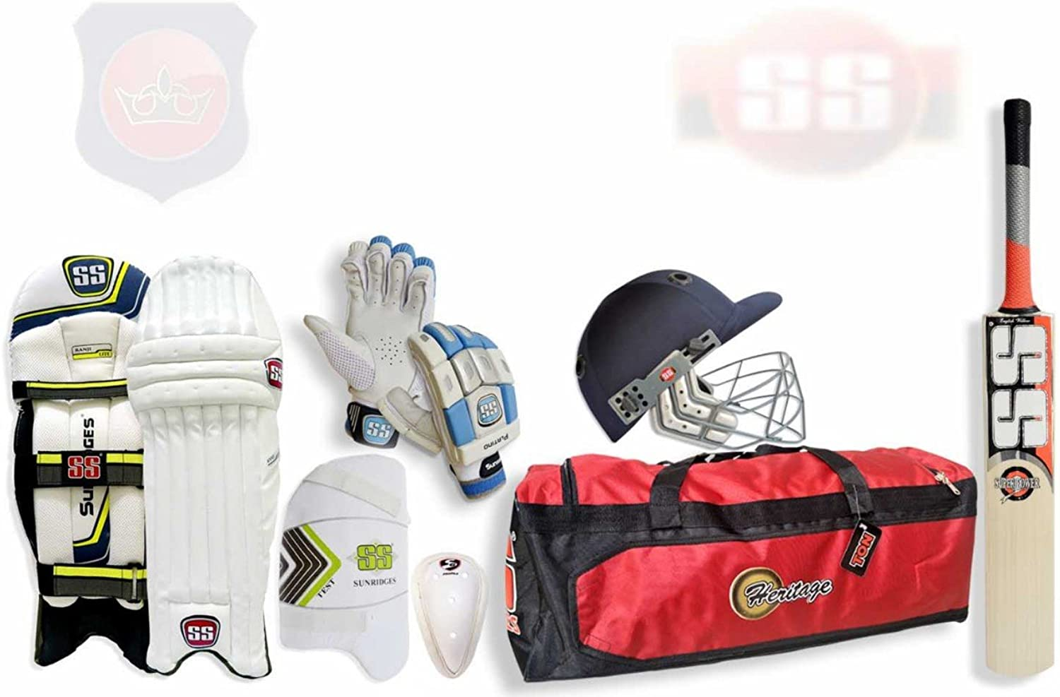 SS Mid Price Range Complete Batsman Cricket Kit Package with English Willow Bat