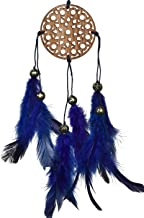 Rooh Dream Catcher ~ Carved Blue Car Hanging ~ Handmade Hangings for Positivity (Can be used as Home Décor Accents, Wall Hangings, Garden, Car, Outdoor, Bedroom, Key chain, Meditation Room, Yoga Temple, Windchime)