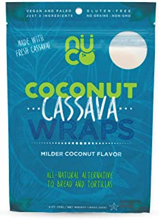 All Natural, SHELF STABLE, Paleo, Gluten Free, Vegan Non-GMO, Raw Veggie NUCO Coconut Cassava Wraps. Crafted with Fresh Cassava, Milder Coconut flavor, NO Salt Added Low Carb and Yeast Free 5 Count
