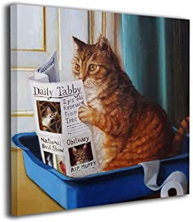 HIBIPPO Cat Toilet Reading Newspaper Paper Canvas Wall Art Prints Artwork Pictures Wall Decorations for Living Room Kitchen 20