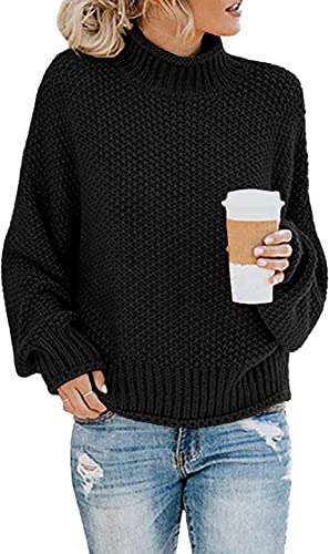 CHERFLY Womens Turtleneck Sweaters Batwing Long Sleeve Pullover Loose Knitted Jumper
