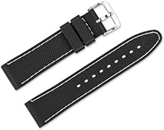 22mm Replacement Rubber Watch Band - Silicone Rubber - Black w/White Stitching Watch Strap
