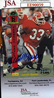 TERRELL DAVIS 1995 Signature Rookie Coa Hand Signed Authentic Autograph - JSA Certified - Football Slabbed Autographed Rookie Cards