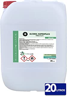 Ecosoluciones Químicas ECO-301 | 20 litros | Alcohol Isopropílico 99,9% Alta pureza IPA | Limpieza componentes electrónicos, Objetivos, Pantallas. Desengrasante. Desinfección y Limpieza Superficies