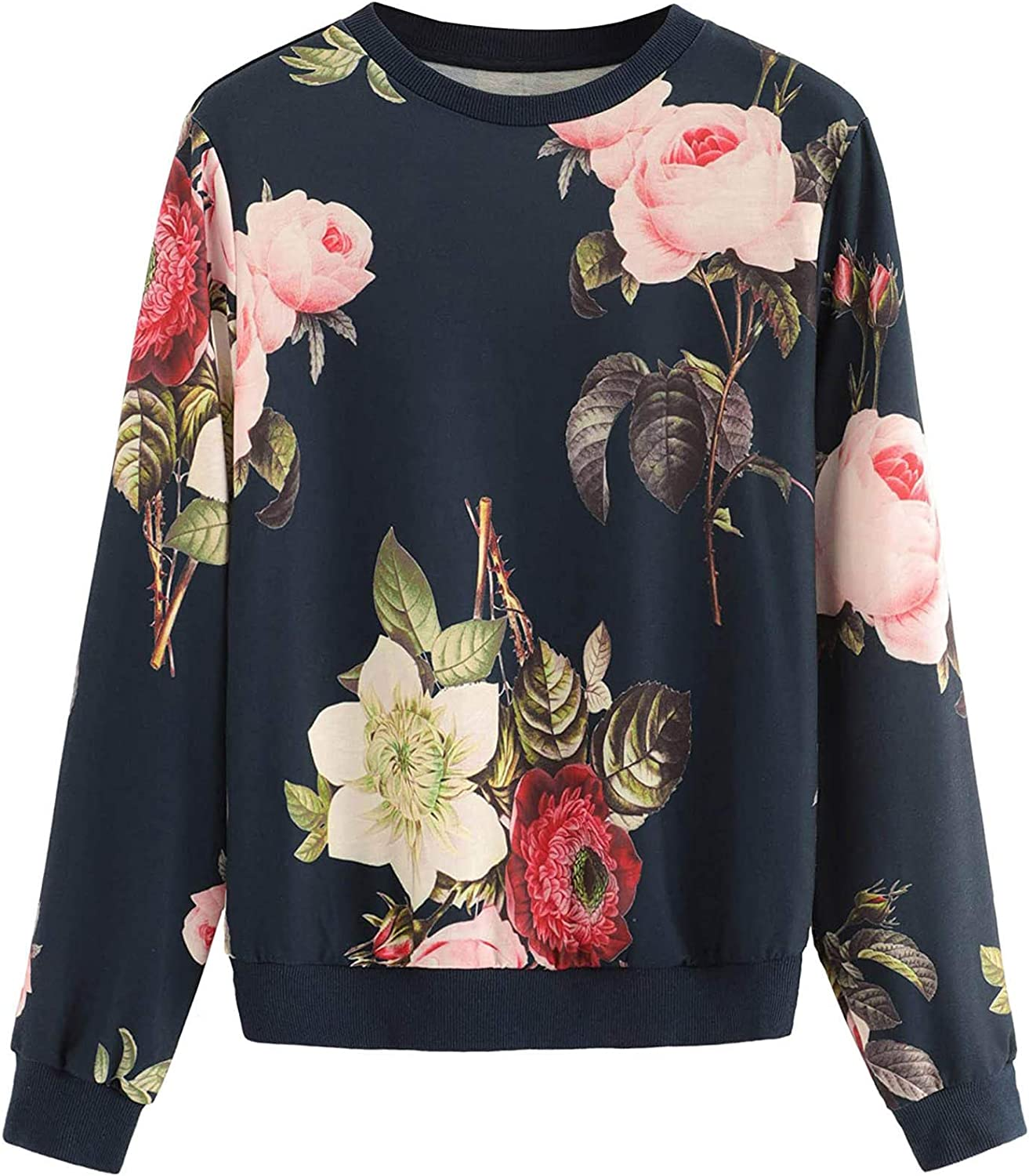 SSZZoo Women's Sweater Shirt Floral Printed O-Neck Long Sleeve Loose Top Blouse