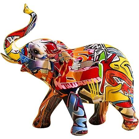 Uziqueif Elephant Decoration, Figurines Animaux en Resine, Objet Decoration Moderne Sculpture Graffiti, Statue Elephant Deco pour Décoration de Maison