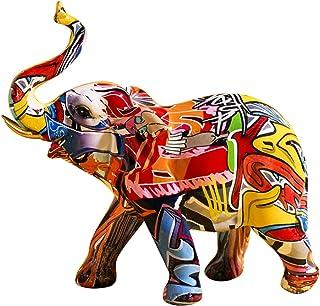 Uziqueif Elephant Decoration, Figurines Animaux en Resine, Objet Decoration Moderne Sculpture Graffiti, Statue Elephant De...
