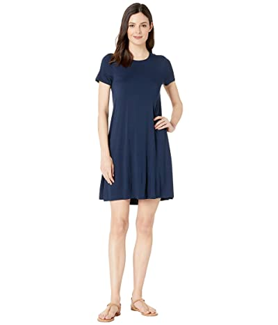 Three Dots Refined Jersey Short Sleeve Crew Neck Float Dress (Night Iris) Women