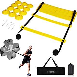 Sponsored Ad - XGEAR Speed & Agility Training Set with TPE Ladder, Resistance Parachute, 12 Disc Cones, 4 Steel Stakes