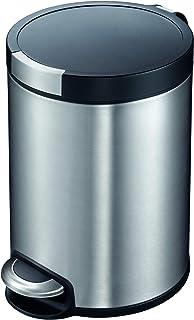 EKO Artistic 8-Liter, Fingerprint Resistant Brushed Stainless Steel Finish, Round Step Waste Bin with Soft Close Lid, Dura...