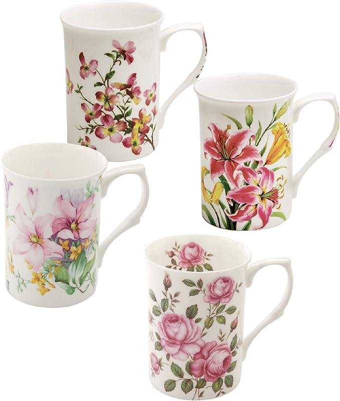 Grace Teaware Bone China Coffee Tea Mugs 9 Ounce Spring Floral Set Of 4 Assorted